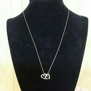 "14k rose gold necklace 18"" heart pendants!"